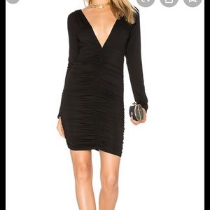 Guess long sleeve ruched v neck dress.